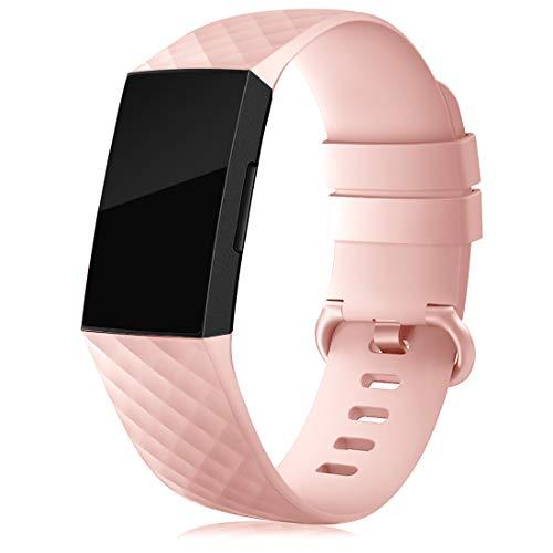 RIOROO Cinturino Compatibile per Fitbit Charge 3 Cinturino/Charge 4 Cinturino/SE, Sportivi Cinturini Silicone per Donna Uomo Regolabile Braccialetto Sostitutivo, Rosa, S
