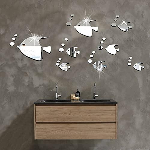 Adesivi Murali 3D, Removibile Adesivi da Parete a Specchio, Pesci Rossi Adesivi Murali Removibile DIY, Rimovibile Adesivo specchio d'argento, Adesivi per La Decorazione della Casa