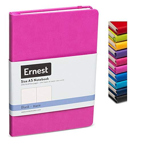 Ernest Classic Hardcover Notebook/Journal Lavender-Blank, Premium Ivory Paper, Expandable Inner Pocket, Organizational Stickers (lavender, blank)