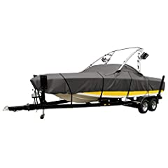 "PROTECTIVE COVER FOR BOATS: Fits boats with ski or wakeboard towers set near the beam of the boat, 20'- 22'L, beam width to 106""W, Model E MARINE-GRADE: Won't shrink or stretch, designed for extra durability, fabric coating technology for max water r..."