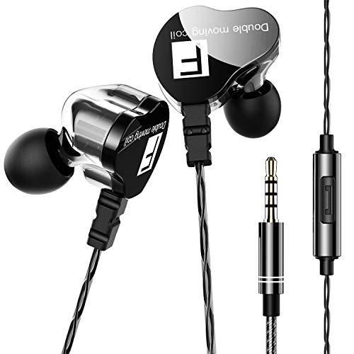 イヤホン 有線 カナル型 高音質 重低音 デュアルドライバー マイク内蔵 通話可 イヤフォン 遮音性 ステレオイヤフォン 音漏れ防止 リモコン付き 3.5 mm (ブラック)