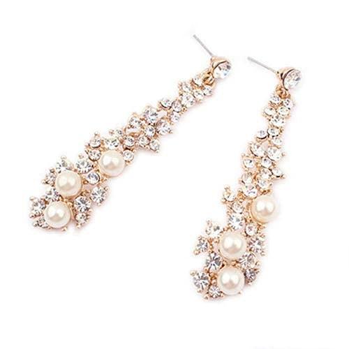 DAQ Pendientes para niñas, Accesorios de joyería, Mujer, Perlas, Diamantes de imitación,...