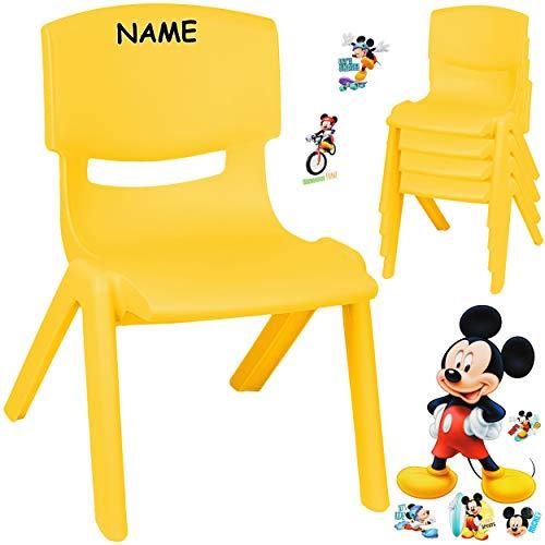 alles-meine.de GmbH Kinderstuhl / Stuhl - Motivwahl - gelb + Sticker - Disney Mickey Mouse - inkl. Name - Plastik - bis 100 kg belastbar / kippsicher - für INNEN & AUßEN - 0 - 99..