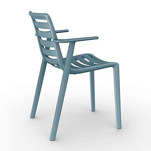 resol Set de 2 sillas con Brazos de diseño Slatkat para Interior, Exterior, jardín - Color Azul Retro