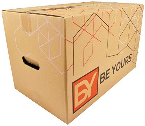 BY BE YOURS Pack 10 Cajas Cartón Mudanza Grandes con asas - 50x30x30 cm en Cartón Doble - Cajas Mudanza Ultra Resistentes - Fabricadas en España