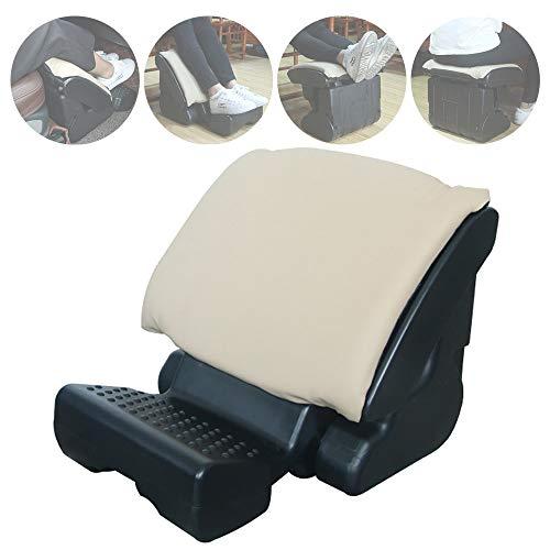 folding foot rests Car Seat Foot Rest Adjustable Footrest Office Footrests Ergonomic Foot Stool,Multifunctional Folding Stool for Automotive, Office, Outdoor,Beige