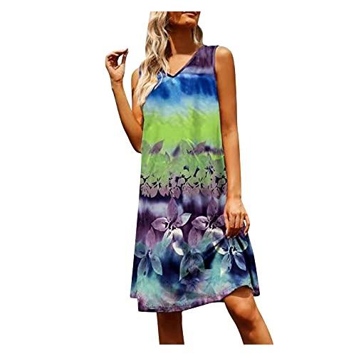 SolaXii Vestido de verano para mujer, cuello en V, sin mangas, vestido de verano para la playa, informal, elegante, casual, vestido de verano, informal, vestido de tirantes Midi azul L