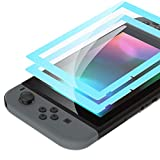 eXtremeRate 2 Pack Heaven Blue Border Transparent HD Clear Saver Protector Film, Tempered Glass Screen Protector for Nintendo Switch [Anti-Scratch, Anti-Fingerprint, Shatterproof, Bubble-Free]