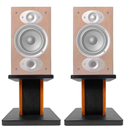 Check Out This (2) 8 Wood Bookshelf Speaker Stands for Polk Audio RTI A3 Bookshelf Speakers