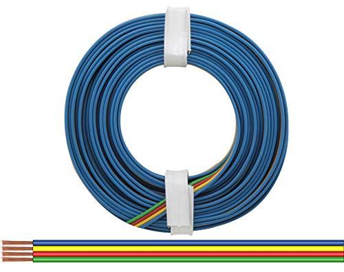Vierlingslitze 0,14 mm Zusatzeinspeisung Carrera GO blau gelb rot gruen 5m Ring