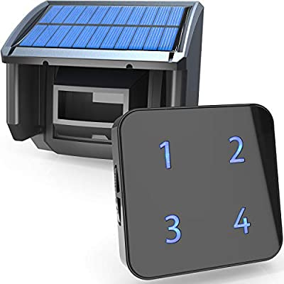 1/4 Mile Solar Wireless Driveway Alarm- Up to 50FT Wide Sensor Range 3 Adjustable Sensitivities- Fully Weatherproof Outdoor Motion Sensor&Detector DIY Security Alert System