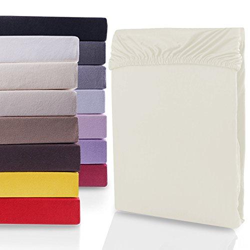 """#1 DecoKing Jersey Spannbettlaken, Spannbetttuch, Bettlaken, """"Nephrite Collection"""", 80x200 cm - 90x200 cm, Ivory"""