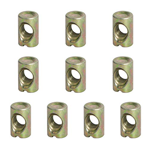Aopin Barrel Nuts Cross Dowels Slotted Nuts for Furniture Beds Crib Chairs, M8 x 17mm, 10Pcs