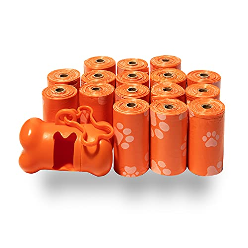 BPS - Extra Thick Waste Poop Bags with Dispenser - Scented, Orange, 240...
