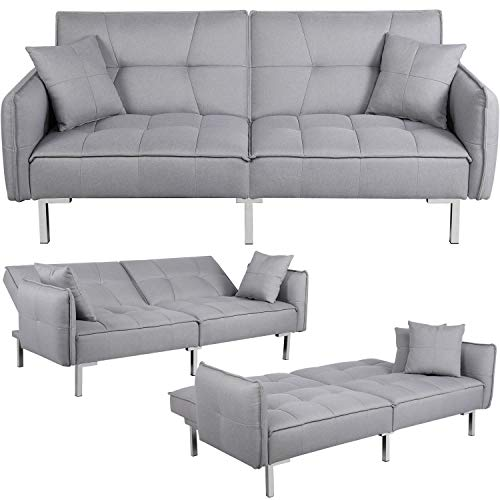 Yaheetech Fabric Sofa Bed 3 Seater Click Clack Sofa Couch Recliner Settee for Living Room/Bedroom with Arms&2 Cushions Grey
