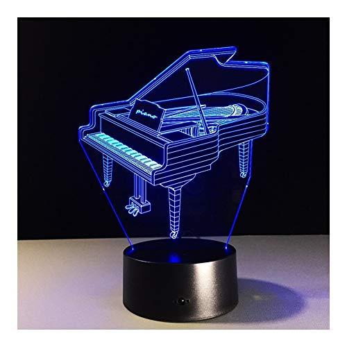 Piano 3D Lights 7 Kleur Touch Creatieve LED Visual Lights Geschenken Kleine Tafellamp Nachtlampje Perfect Gift (Kleur : Piano -Multi-Colored)
