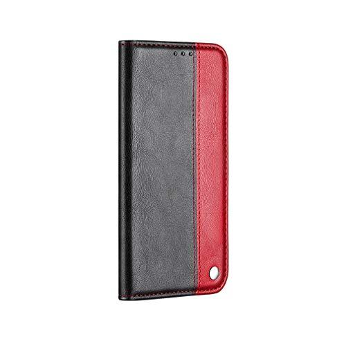 LMFULM® Hülle für Huawei P Smart Plus 2018 / Nova 3i (6,3 Zoll) PU Leder Magnet Brieftasche Lederhülle Handytasche Standfunktion Ledertasche Flip Cover Spleißen Rot