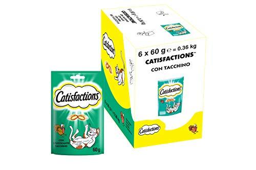 Catisfactions Snack per Gatto, Stuzzicante Tacchino, 6 Confezioni da 60 g