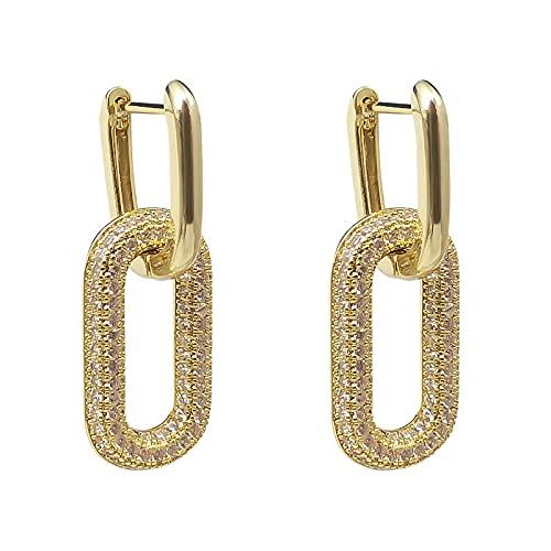 YANXIA Pendientes de Clip para Niñas Pendientes Colgantes Geométricos Retro para Mujer Pendientes Elegantes Regalos