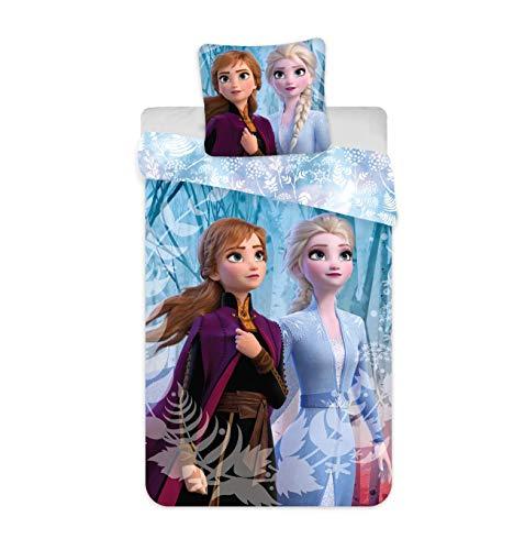 JFabrics Juego de ropa de cama infantil de Frozen, funda nórdica de 140 x 200 cm y funda de...