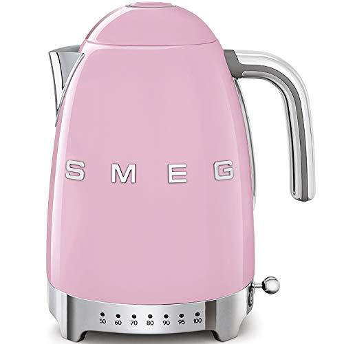 SMEG Calentador de Agua electrico, hervidor KLF04PKEU, 2400 W, 1.7 litros, De plastico, Acero Inoxidable, Rosa Pastel