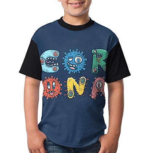 populalar Cor-ona-Vir-Us Funny Cartoon Teenager T-Shirts,Boys Girls Tops Tee Breathable Short Sleeve Black