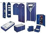 Wenko Kleiderschrank Air, für Reisende oder als zusätzlicher Schrank, stabiles Metallgestell, leichte Montage, Schutz vor Motten, Staub & Schmutz, atmungsaktives Vlies-Material, Navy - 7