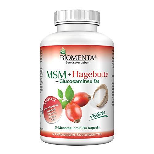 BIOMENTA MSM Schwefel + Hagebuttenextrakt + Glucosamin – zusätzlich mit Calcium, Vitamin C, Zink - 3 Monatskur – vegan - 180 MSM Kapseln hochdosiert - Gelenkkapseln bei Gelenk Schmerzen, Anti Pickel Tabletten bei Akne
