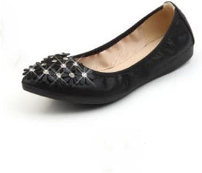 CHENSF Womens Foldable Soft Pointed Toe Ballet Flats Rhinestone Comfort Slip-B-on Flat shoes
