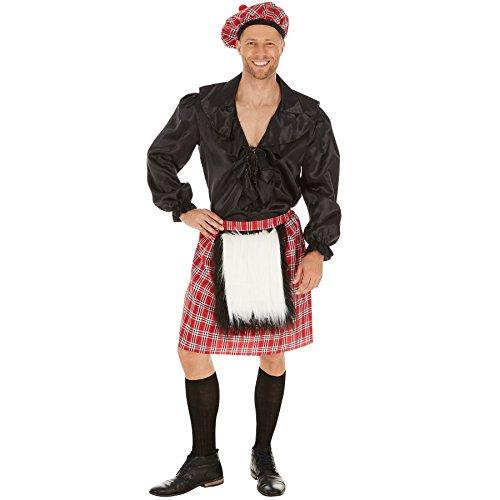 TecTake dressforfun Herrenkostüm Schotte | Cooler, schottischer Rock | Rock mit aufgenähtem Fellimitat | Inkl. Schottenmütze auch im Webkarostil (M)