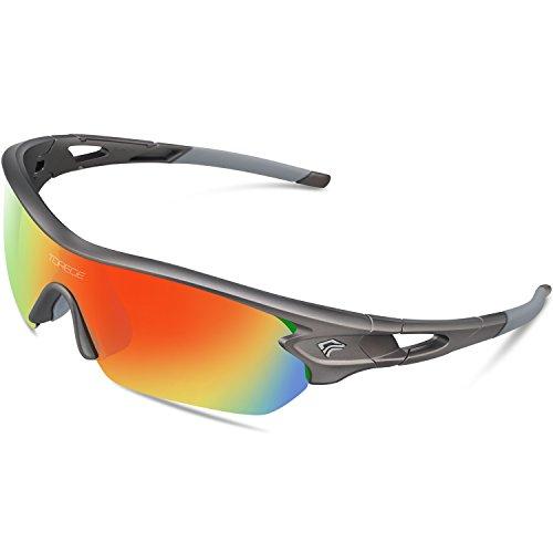 Gafas de sol deportivas polarizadas de Torege, con 5 lentes intercambiables para hombres y mujeres, aptas para ciclismo, carreras, conducción, pesca, golf, béisbol, TR002, gris