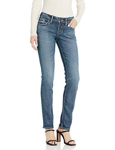 Silver Jeans Co. Women's Suki Curvy Fit Mid Rise Straight Leg Jeans, Medium Sandblast, 33W X 30L