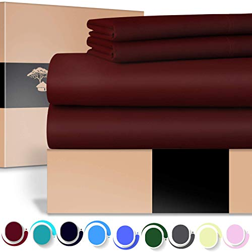 URBANHUT Egyptian Cotton Sheets Set - 700 Thread Count 100% Cotton King Size Sheets (4 Piece), Luxury Bed Sheets King, Deep Pocket, Soft & Silky Sateen Weave (Burgundy)
