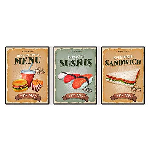 SáNdwich De Hamburguesa Trate Me Citas Poster Snack Bar Impresiones Alimentos Pared Arte De La Lona Pintura Vintage Cuadro para Cocina Decoracion 30x40cmx3 No Marco