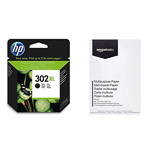 HP 302XL - Cartucho de tinta para HP DeskJet 2130, 3630 HP OfficeJet 3830, 4650 HP ENVY 4520, Color negro & AmazonBasics Papel multiusos para impresora A4 80gsm, 1 paquete, 500 hojas, blanco