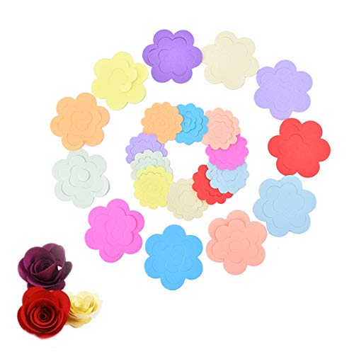 22 unids/Lote DIY Papel Flowers Papel Hecho a Mano Rose Scrapbooking Craft Redondo Coloreado Flower Flower Origami