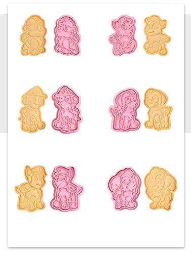 Juego de 6 moldes con forma de galleta de la Patrulla Canina para tarta de cumpleaños (6 unidades)