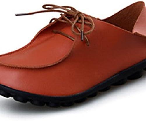 NJX  Chaussures Femme-Décontracté-Noir     Marron   Rouge-Talon Plat-Confort-Richelieu-Polyuréthane 40f