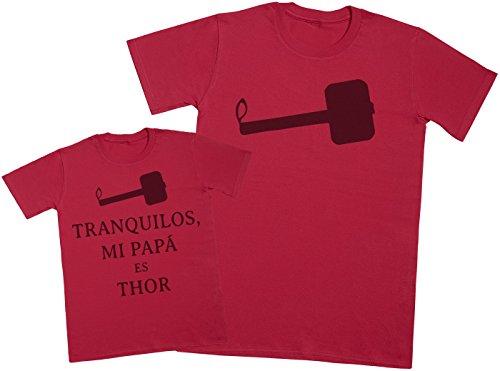 Zarlivia Clothing Tranquilos mi Papá es Thor - Regalo para Padres e Hijos - Camiseta de niño y Camiseta de Hombre
