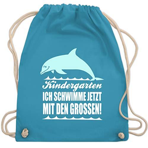 Shirtracer Kindergarten - Kindergarten Ich schwimme jetzt mit den Großen! Delphin - Unisize - Hellblau - turnbeutel schwimmen - WM110 - Turnbeutel und Stoffbeutel aus Bio-Baumwolle