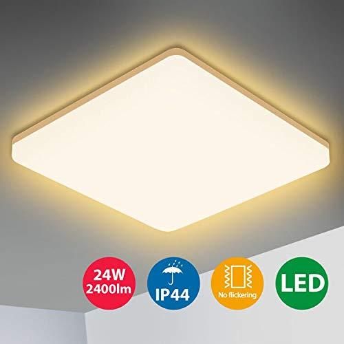 Oeegoo LED Deckenleuchte, 24W 2400Lm LED Deckenlampe Warmweiß, IP44 Wasserdicht Küchenlampe Badlampe, Flimmerfrei Led Leuchte für Wohnzimmer Schlafzimmer Kinderzimmer Büro Küche Balkon Keller 3000K