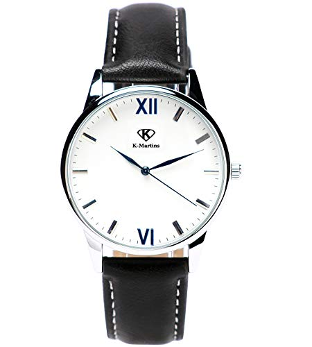 K-Martins Mens Wrist Watch -Quartz Analog Roman Numeral with Classic Black Leather - Waterproof 10 Years Batteries - Fashion Casual Unique Dress - Business Office Work School Watches (Black-Leather)