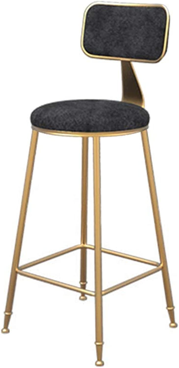 Simple bar Chair Flannel Barstool Dining Chair High Stool Leisure Chair (color   Black, Size   65cm high)