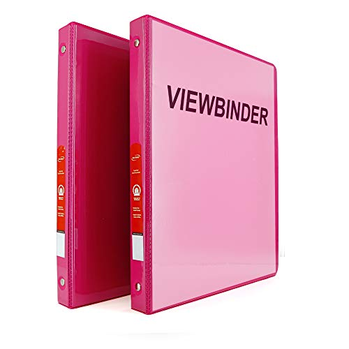 """Emraw Super Great 1/2"""" 3-Ring View Binder with 2-Pockets - Available in Fuschia - Great for School, Home, & Office (2-Pack)"""