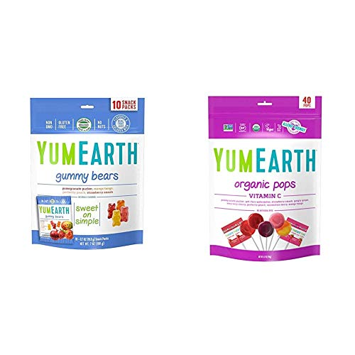 YumEarth Organic Gummy Bears 10 Count amp Organic Vitamin C Lollipops 85 Ounce Bag  Packaging May Vary