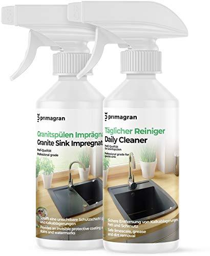 Voll Pflegeset für Granitspülen 2x250ml, Pflegemittel zum Reinigung und Imprägniermittel für Küchenspülen, Professionelles Produkt für Spülen von Primagran