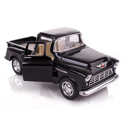 Black 1955 Chevy Stepside Pick-Up Die Cast Collectible Toy Truck by Kinsmart
