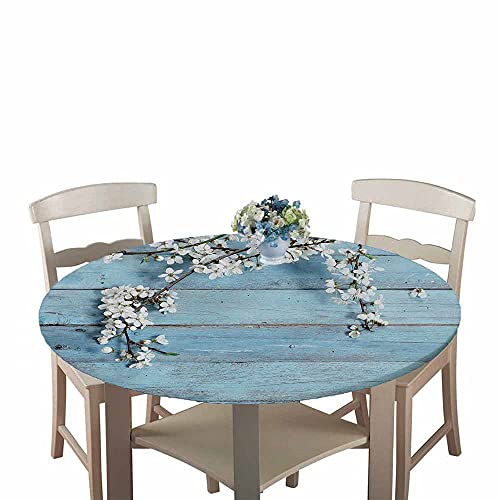 Mantel Antimanchas Redondo, Chickwin Patrón de tablón de Madera Mantel de Mesa Impermeable Diseño de Borde Elástico, Mantel Redondo para Comedor, Cocina y Picnic (Tablero de Madera Azul,90cm)