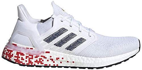 adidas Women's Ultraboost 20 W Running Shoe, FTWR White/Collegiate Navy/Scarlet, 7.5 UK