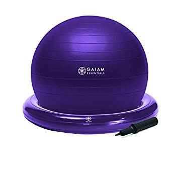 Gaiam Essentials Balance Ball & Base Kit 65cm Yoga Ball Chair Exercise Ball with Inflatable Ring Base for Home or Office Desk Includes Air Pump - Purple